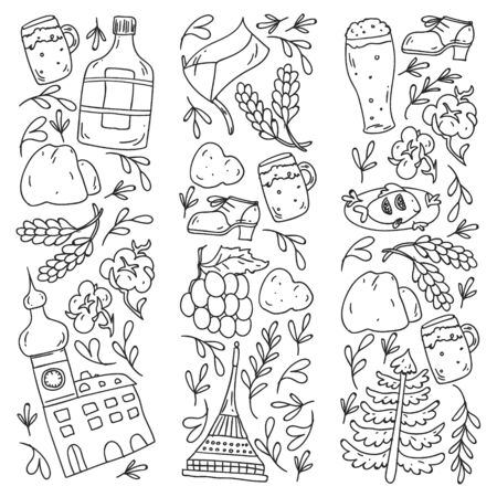 Vector icons and symbols. Czech Republic illustrations for banners, posters, background.