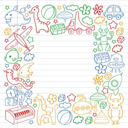 Vector pattern with children toys. Kindergarten elements in doodle style for little kids. Education, play, grow Illustration