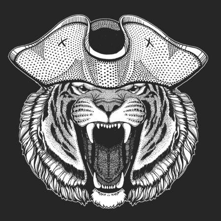 Tiger portrait. Pirate cocked hat. Sailor. Wild cat head. Illusztráció