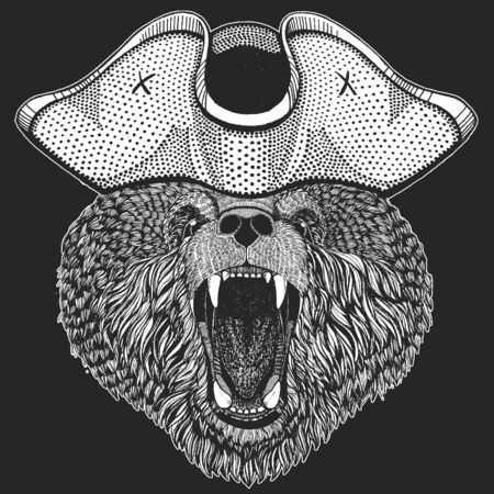 Wild bear. Pirate cocked hat. Portrait of animal for emblem, logo, tee shirt.