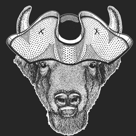 Buffalo, bison, bull head. Pirate cocked hat. Sailor. Portait of animal.