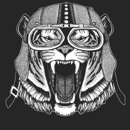 Tiger portrait. Vintage motorcycle leather helmet. Wild cat head.