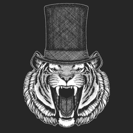 Tiger portrait. Top hat, cylinder. Wild cat head. Vectores
