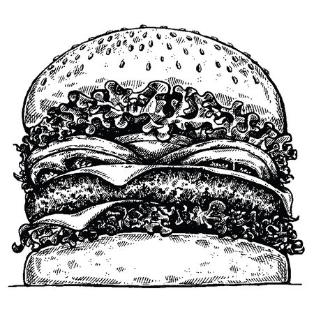 Burger. Vector illustration for menu, restaurant, internet food delivery. Sandwich with ham, beef, bread. American fast food.