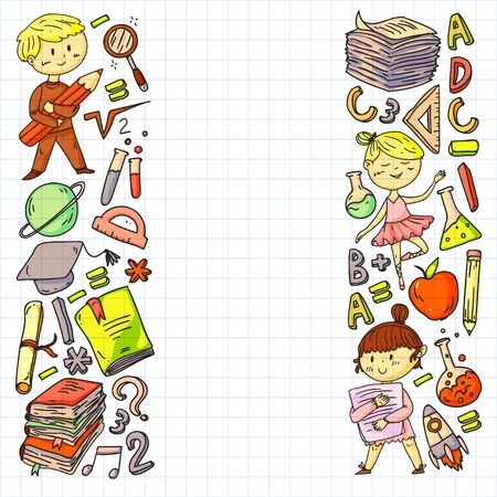Cute school children. Imagination and creativity. Play and learn, singing, dancing, reading, drawing.