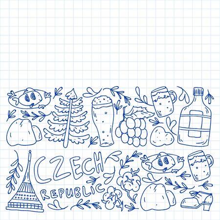 Vector pattern with symbols of Czech Republic. Set with tourism icons and landscapes elements. Vektoros illusztráció