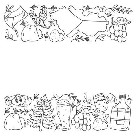 Vector pattern with symbols of Czech Republic. Set with tourism icons and landscapes elements.