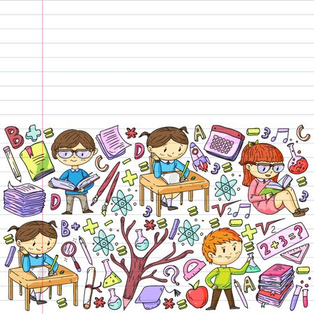 Online learning, education. Back to school. Vector icons and elements for little children, college. Doodle style, kids drawing