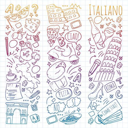 Italian language learning. Vector pattern with icons and national symbols of Italy.
