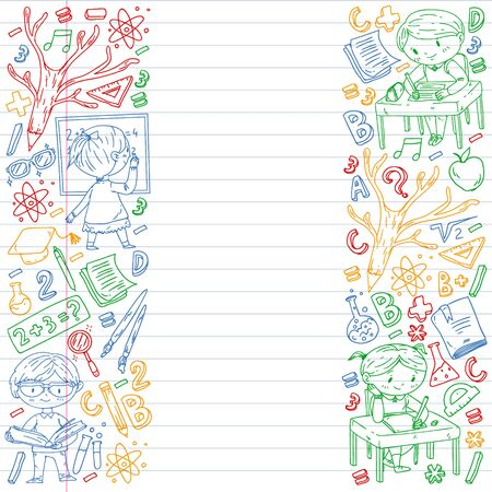 Back to school. Vector icons and elements for little children, college, online courses. Doodle style, kids drawing