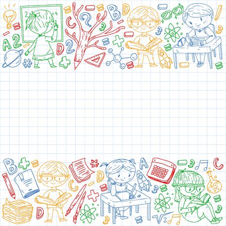 Back to school. Vector icons and elements for little children, college.
