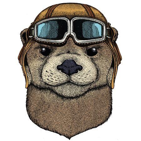 Vintage aviator helmet with goggles. Vettoriali