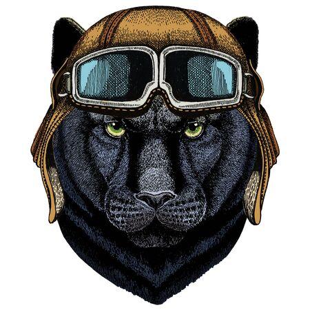 Vintage aviator helmet with goggles. Vektorgrafik