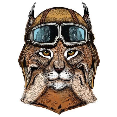 Vintage aviator helmet with goggles. Illustration