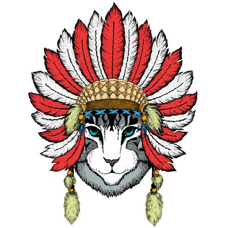 Face of domestic cat. Portrait of animal. Cute kitty, kitten. Indian headdress with feathers. Boho style. Vecteurs