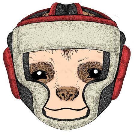 Boxing helmet. Sport competition fighting. Ilustração Vetorial