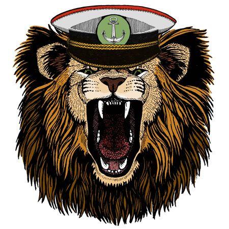 Animal wearing Sailor hat. Marine capitan