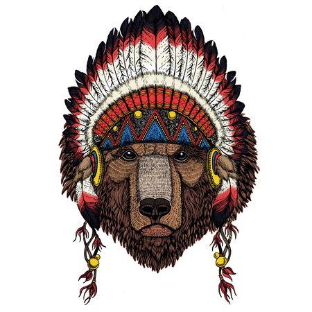 Wild bear. Portrait of animal for emblem, tee shirt. Indian traditional headdress. Illustration