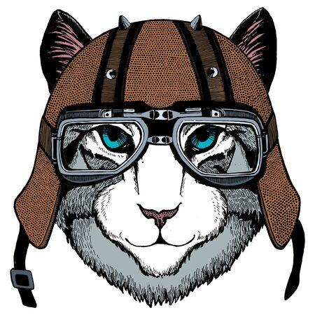 Motorcycle helmet. Mascot, character Face of wild animal. Vectores