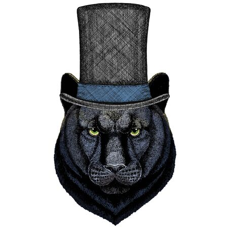 Wild animal Mascot character. Cylinder hat Vectores