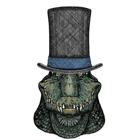 Wild animal Mascot character. Cylinder hat Ilustração