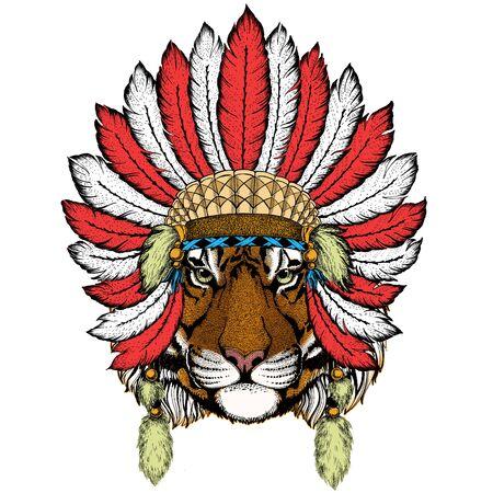 Tiger portrait. Wild cat head. Indian headdress with feathers. Boho style. 일러스트