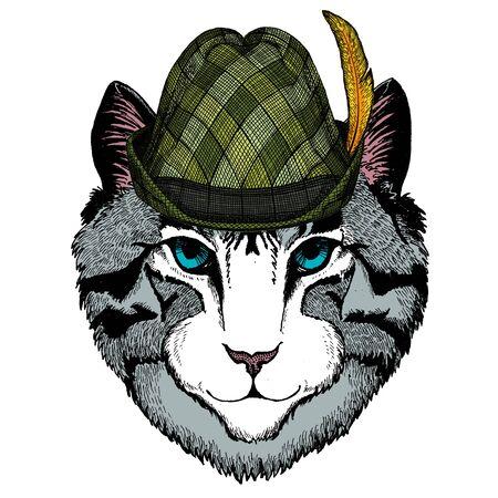 Face of domestic cat. Austrian bavarian tirol hat. Beer festival. Oktoberfest.
