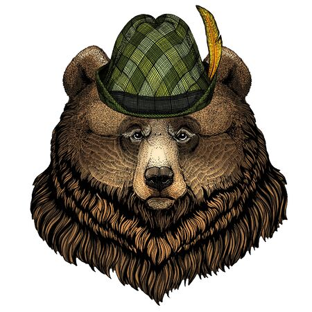 Grizzly bear. Austrian bavarian tirol hat. Beer festival. Oktoberfest.