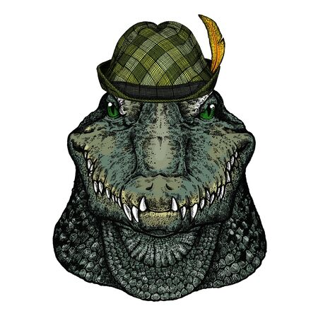 Alligator. Portrait of african agressive animal. Austrian bavarian tirol hat. Beer festival. Oktoberfest. Ilustração