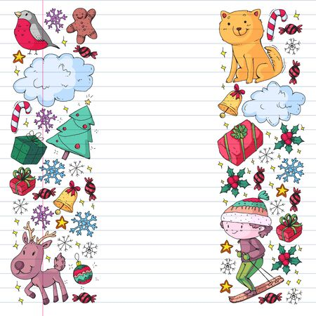 Christmas pattern for little children. Kids play and have fun during winter vacations.