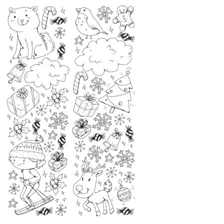 Coloring page with Christmas pattern for little children. Kids play and have fun during winter vacations.