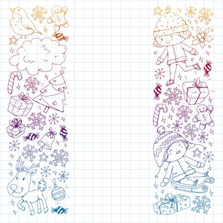 Christmas pattern with little children. Kids play and have fun during winter vacations.