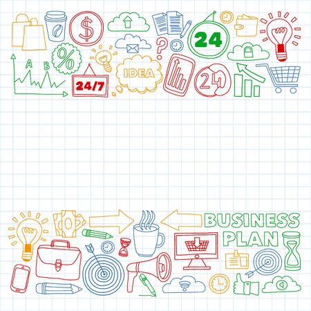 Online business and management school. Pattern with finance icons. Projects organization, risk, development. Team working, budget planning.