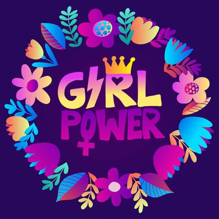 Feminism slogan with hand drawn lettering girl power. Neon liquid colorful design. Woman rule the world