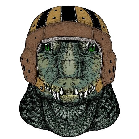 Alligator. Portrait of african animal. Rugby leather helmet. Vettoriali