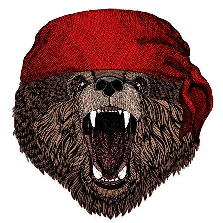 Wild bear. Portrait of animal for emblem, logo, tee shirt. Bandana. Pirate. Motorcycle. Illustration