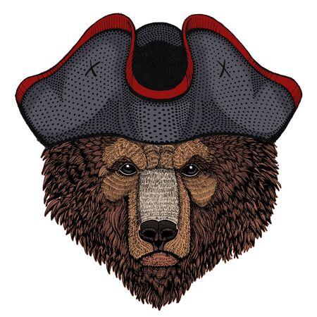 Wild bear. Portrait of animal for emblem, logo, tee shirt.