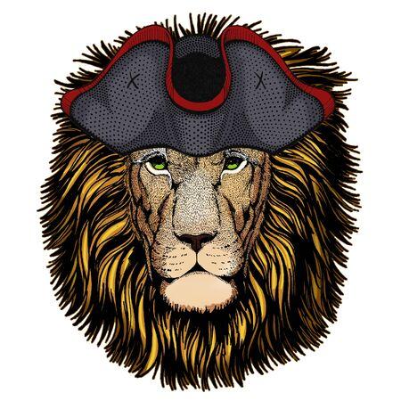 Lion head. Wild animal portrait. Face of african cat. Cocked hat. Archivio Fotografico