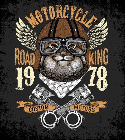 Motorcycle vector typography. Cool animal for t-shirt graphics, vectors. Ilustración de vector