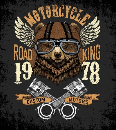 Motorcycle vector typography. Cool animal for t-shirt graphics, vectors.