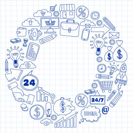 Business and finance online education vector pattern. Start up and innovations Vektoros illusztráció