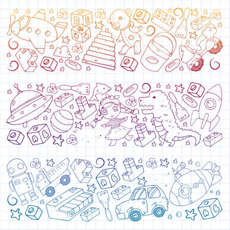 Set of vector toys for little children. Ufo, submarine. Cartoon dinosaur. Kindergarten kids.