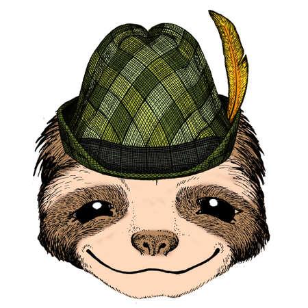 Sloth portrait. Austrian bavarian tirol hat. Beer festival. Oktoberfest. Face of cute animal.