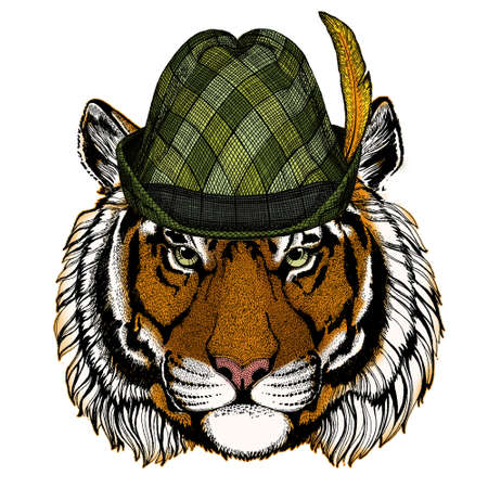 Tiger portrait. Austrian bavarian tirol hat. Beer festival. Oktoberfest. Wild cat head.
