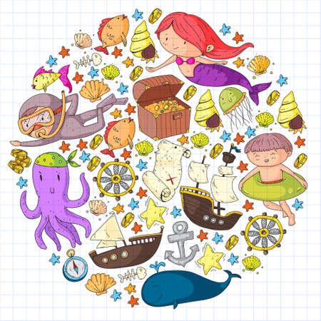Vector icons of sea ocean adventure for little children. Vektorgrafik