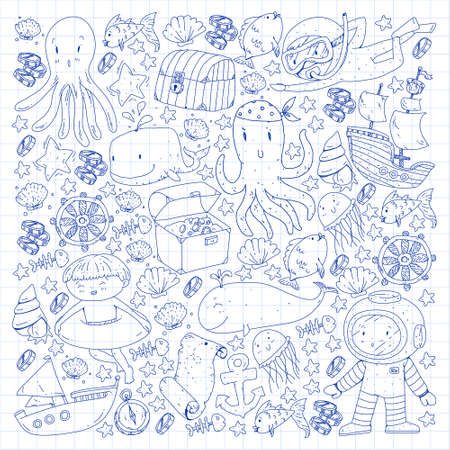 Vector icons of sea ocean adventure for little children. Nautical pattern for kids. Whale, pirates, pirate map, treasure chest, diving and fishes.