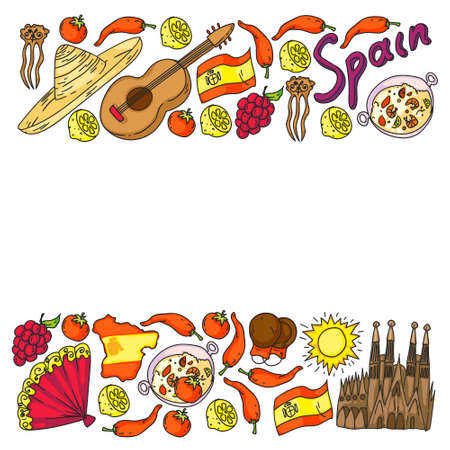 Spain vector icons. Hand drawn set with spanish food paella, shrimps, olives, grape, fan, wine barrel, guitars, music instruments, dresses, bull, rose, flag and map, lettering.