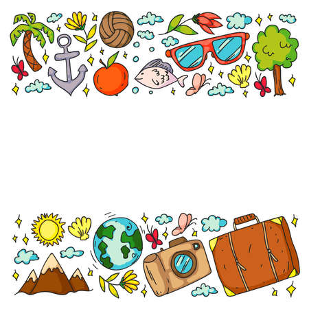 Travel and tourism icons. Traveling pattern Banco de Imagens - 153729357