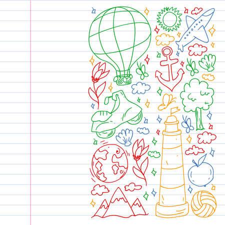 Travel and tourism icons. Traveling pattern Ilustração
