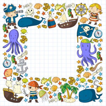 pirate set in cartoon style. Sweet card with pirates, ship, whale, crab, octopus, mermaid, rum, anchor, treasure, fish, island and parrot.